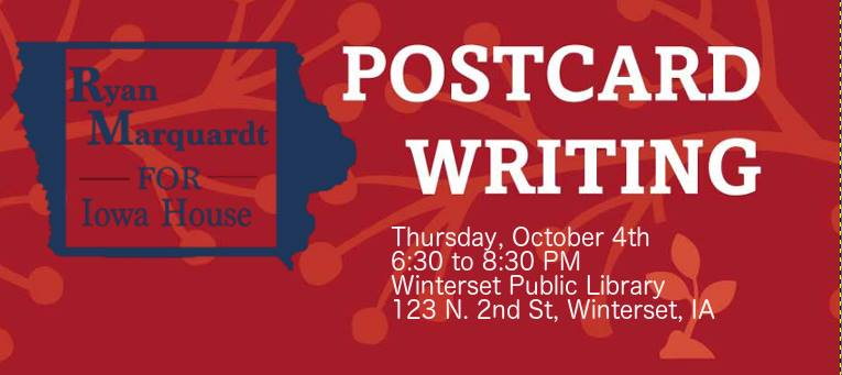 Thursday, October 4, 2018:<br>Postcard Writing Party for Ryan Marquardt